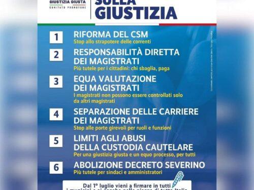 Da oggi la raccolta firme per il Referendum sulla Giustizia: si può firmare nei banchetti e gazebo allestiti in tutta Italia e in tutti i municipi